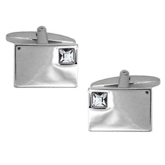 Clear Crystal Corner Cufflinks