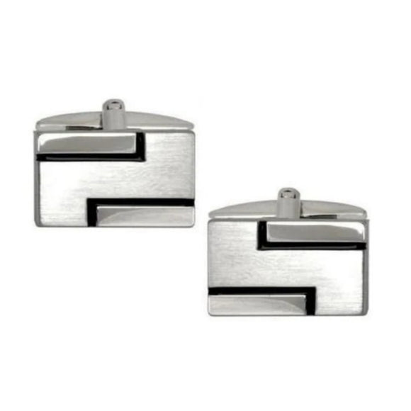 Brushed & Polished Black Lined Rectangle Cufflinks