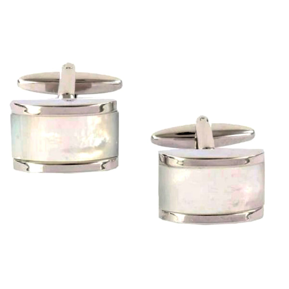 Rhodium Plated Mother of Pearl Domed Rectangle Cufflinks