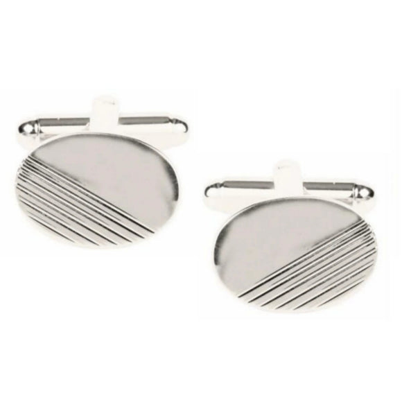 Oval with 1/3 Diagonal Lines Rhodium Plated Cufflinks