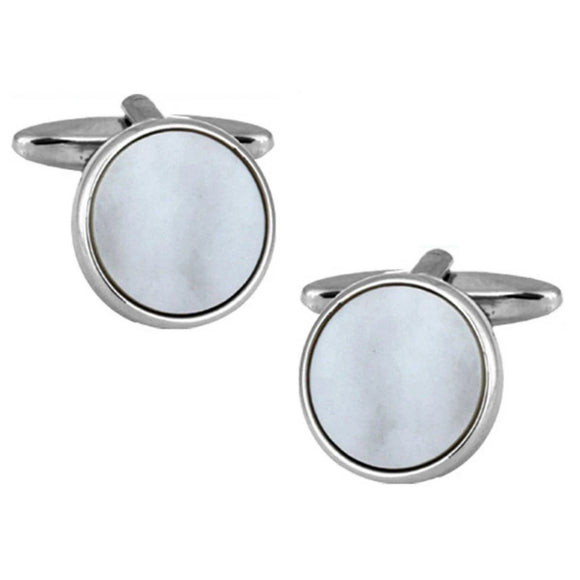 Rhodium Plated Circle Mother of Pearl Cufflinks