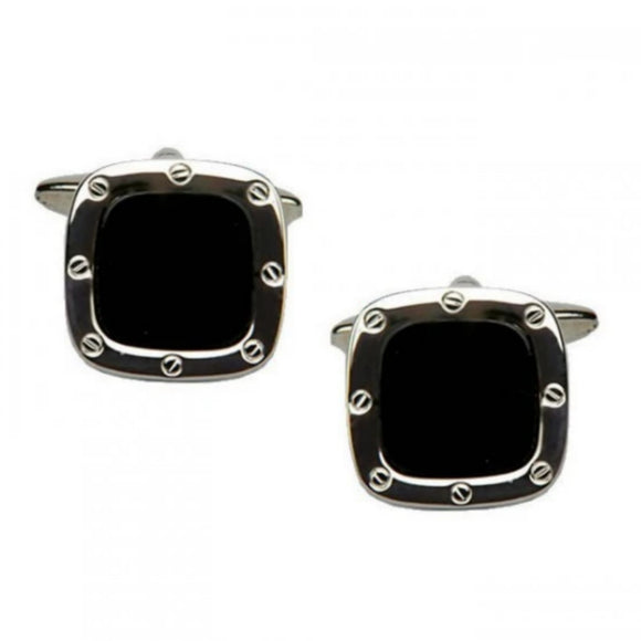 Rhodium Plated Cushion Shaped Black Onyx Cufflinks