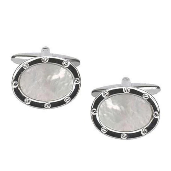 Rhodium Plated Oval Shaped MOP Cufflinks