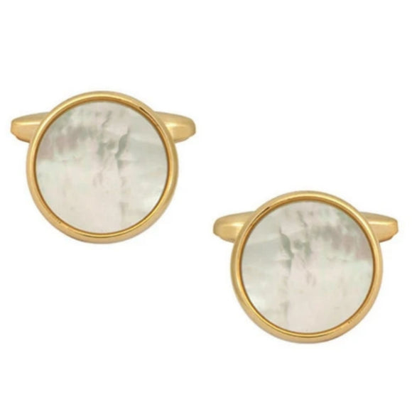 Gold Plated Circle Mother of Pearl Cufflinks