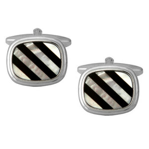 Rhodium Plated Rectangular Cushion Shaped Black Onyx and MoP Lines Cufflinks