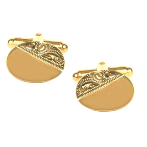 Oval 1/3 Engraved Design Gold Plated Cufflinks