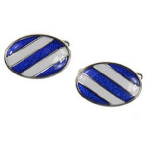 Rhodium Plated Blue and White Oval Cufflinks