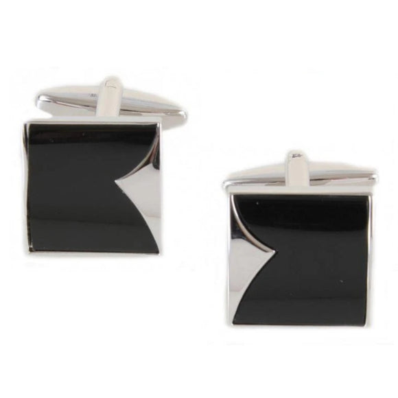Rhodium Plated Black Onyx Fish Tail Cufflinks