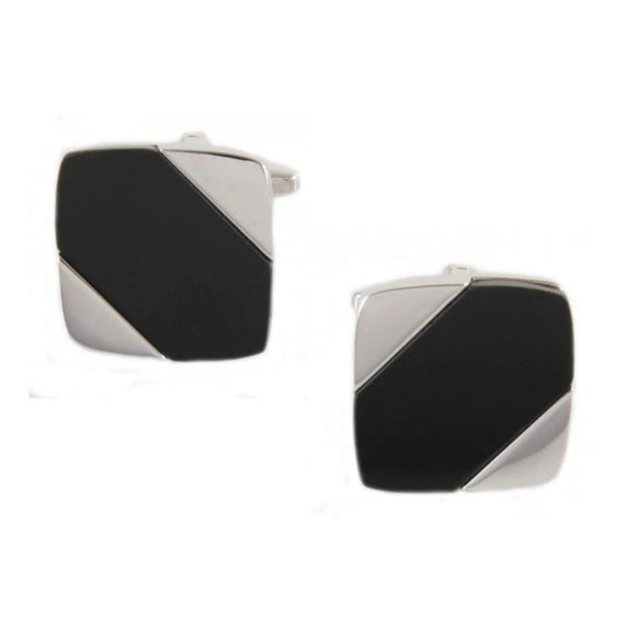 Rhodium Plated Black Onyx Diagonal Cufflinks