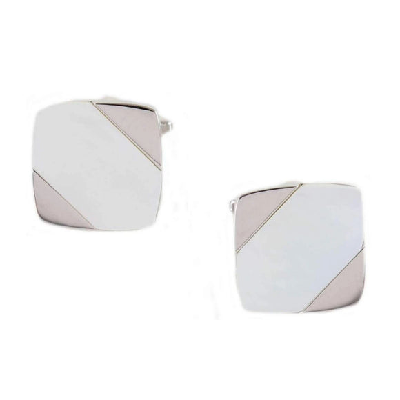 Rhodium Plated MoP Diagonal Cufflinks