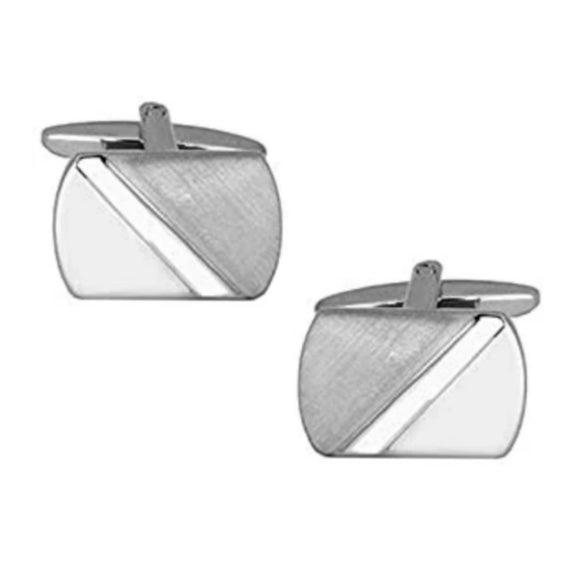 Rectangular Diagonal Brushed & Polished Rhodium Plated Cufflinks