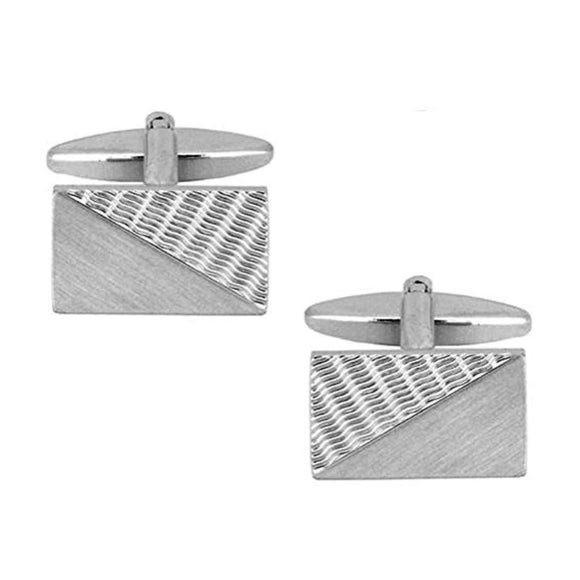Rectangular Brushed & Engine Turned Rhodium Plated Cufflinks