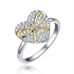 Sterling Silver Two Tone and Clear CZ Heart Ring