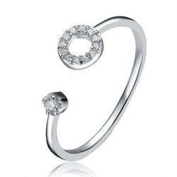 Sterling Silver CZ Accent with Tiny Halo Ring
