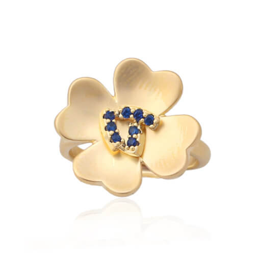 Matte Gold Four Petal Flower Ring