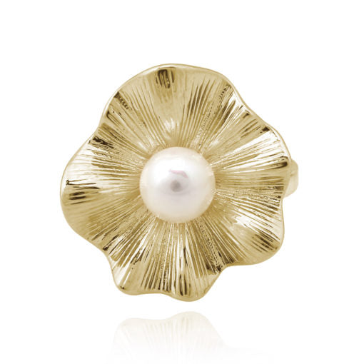 Ruffled Oyster Pearl Ring