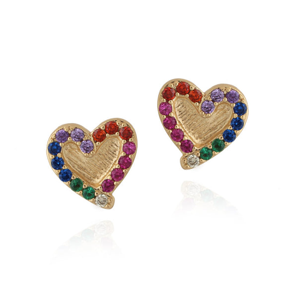 Outline Rainbow CZ Heart Stud Earrings