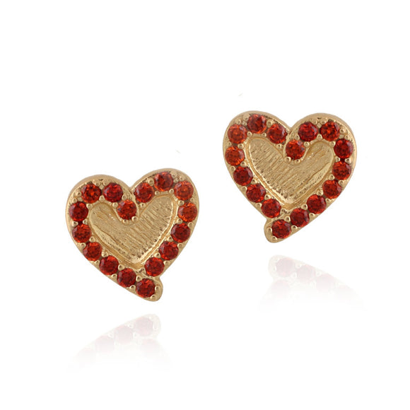 Outline Red Heart Stud Earrings