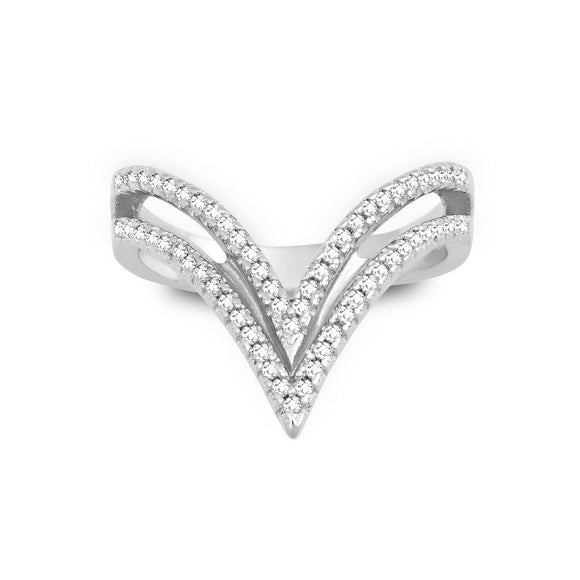 Sterling Silver And CZ Double Open V Ring