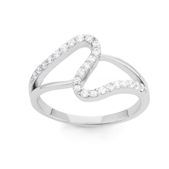 Sterling Silver Double Open Loop CZ Ring