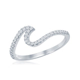 Sterling Silver CZ Wave Design Ring
