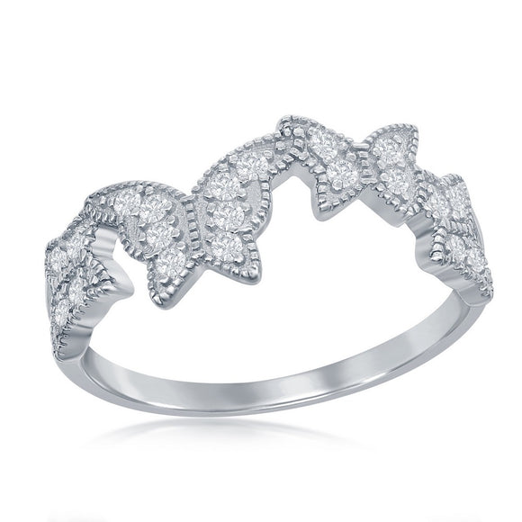 Sterling Silver Clear CZ Butterfly Ring