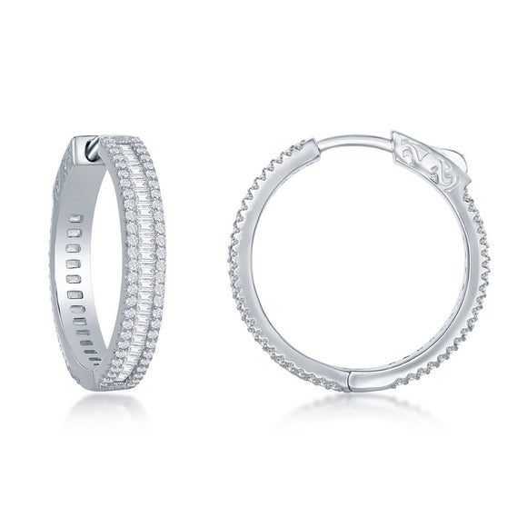 Sterling Silver Baguette CZ 25mm Hoop Earrings