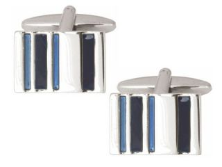 2-Tone Blue Bars Shiny Rectangle Rhodium Cufflinks