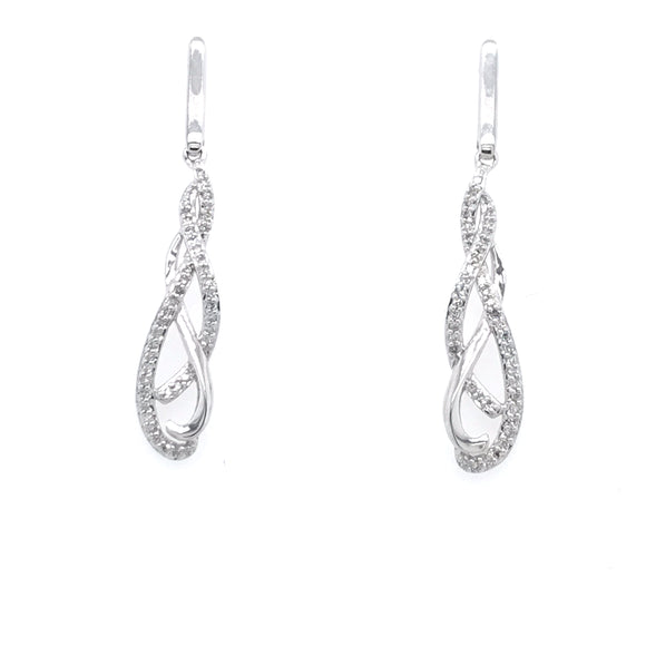 10k Diamond Thin Braided Earring