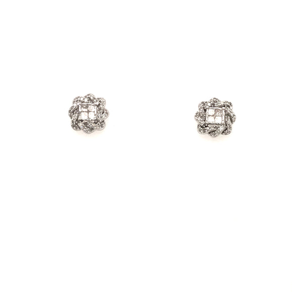 14k Diamond Flower Stud
