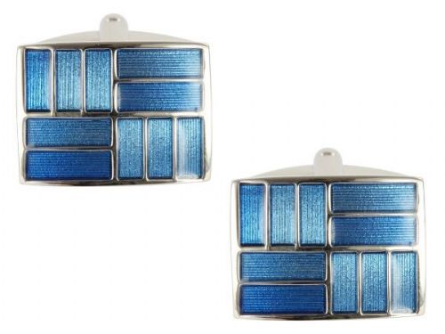 Rhodium Plated Two Tone Blue Enamel Cufflinks