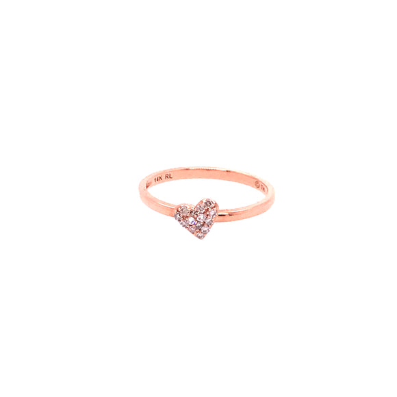 14K Rose Gold Heart Ring