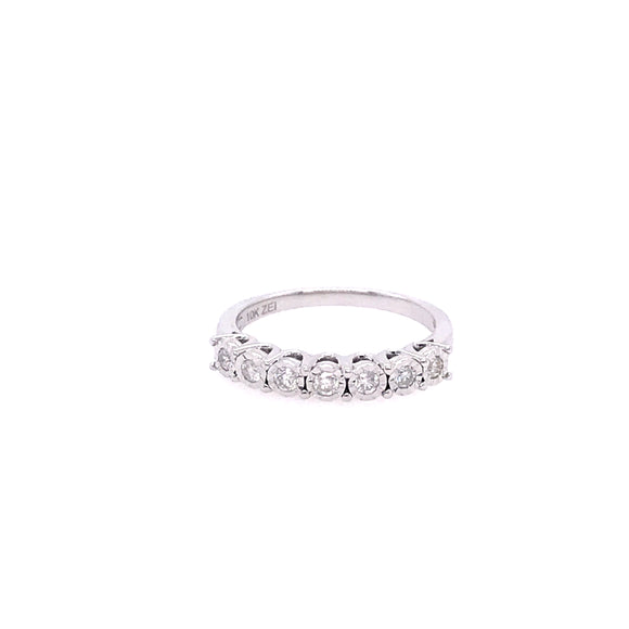 White Gold Half Eternity Band Ring