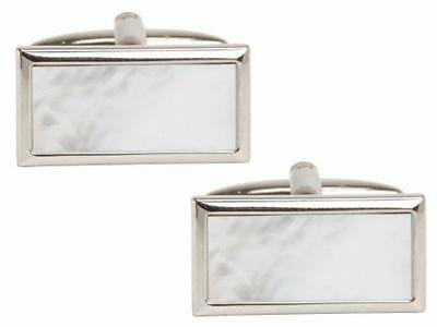 Rhodium Plated Mother of Pearl Rectangle Cufflinks
