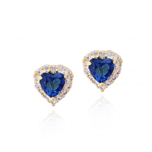 Surgical Steel Tiny Blue Heart Stud Earrings