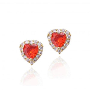 Surgical Steel Tiny Red Heart Stud Earrings