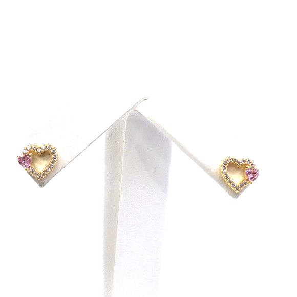 Surgical Steel Small Outline CZ Heart Studs