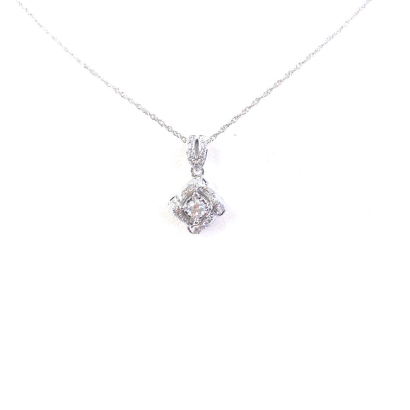 White Gold Diamond-Shape Solitaire Pendant