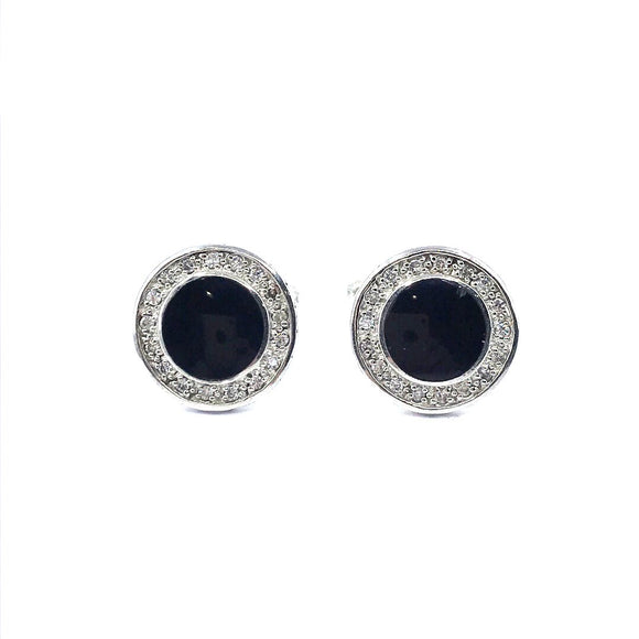 Sterling Silver Black Circle Cufflinks