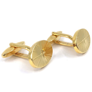 Gold Plated Cufflinks Oval Starburst