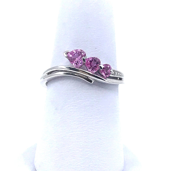 White Gold Pink Topaz Ring