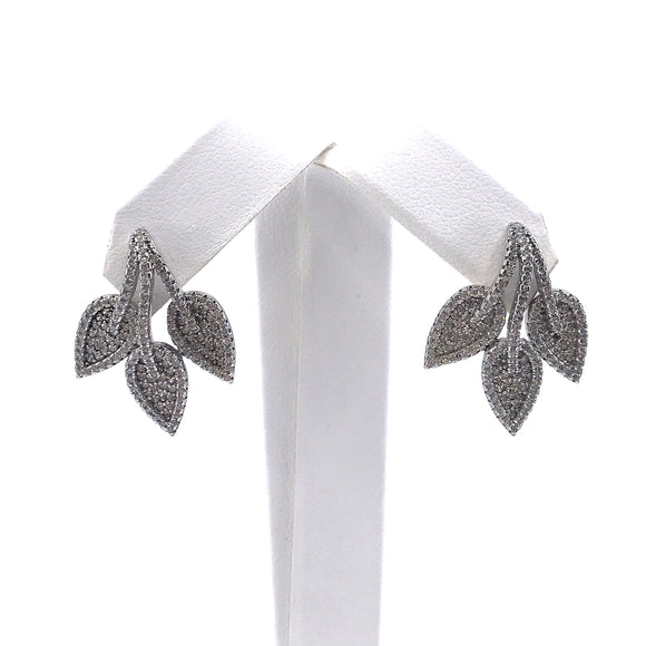 Sterling Silver Three Leaf Stud Earrings