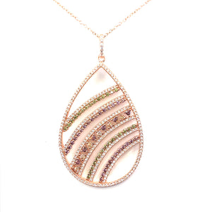 Rose Gold Plated Sterling Silver Teardrop Pendant