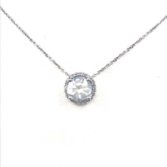 14K Gold  White Topaz Solitaire Necklace