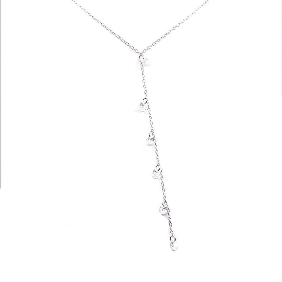 Sterling Silver CZ Lariat Necklace