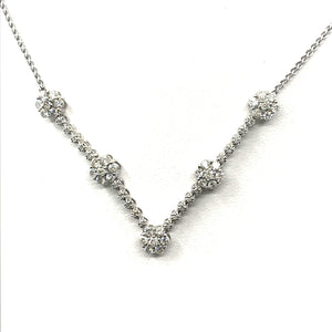 14K White Gold Flower V-Shaped Necklace