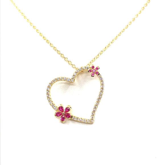 Heart With Flowers Pendant