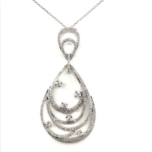 14K White Gold Teardrop Pendant