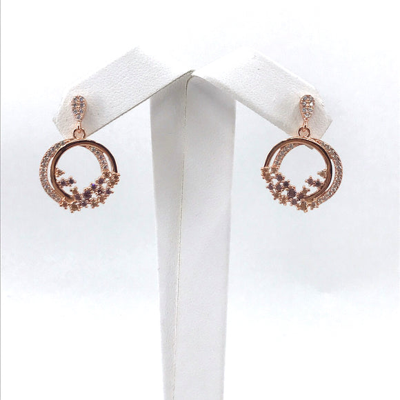Sterling Silver Rose Gold Plated Double Circle Earrings