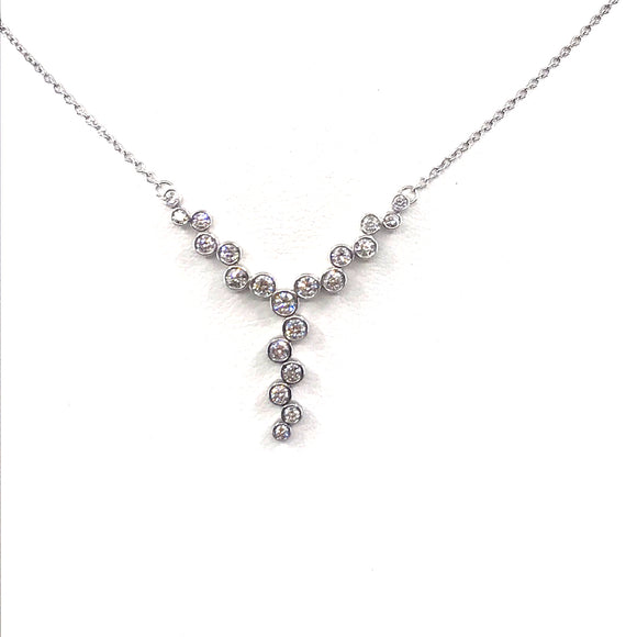 14K White Gold Y-Shaped Necklace